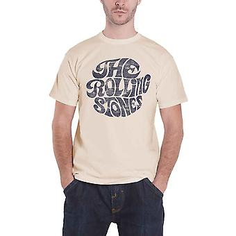 The Rolling Stones T Shirt Cream Vintage 70s band Logo Official Mens