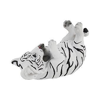 White Bengal Tiger Cub Tabletop Single Wine Bottle Holder Display