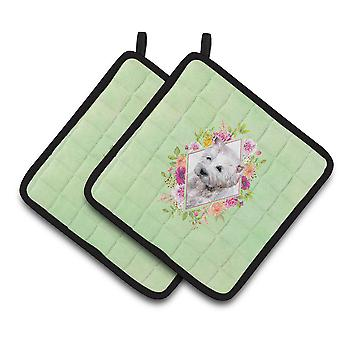 West Highland White Terrier Green Flowers Coppia di portavasi