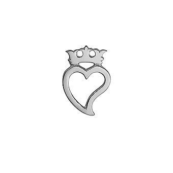 Sølv 35x24mm Luckenbooth hjerte og Crown Brooch