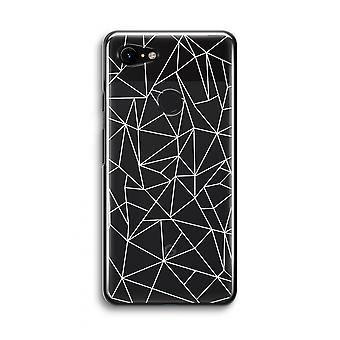 Google Pixel 3 Transparent Case (Soft) - Geometric lines white