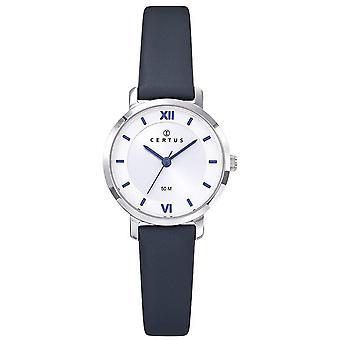 Se Certus 644433-sølv stål boks rundt kvinners blå Lær armbånd