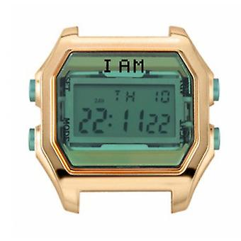 Watch I Am The Watch IAM-001 - Bo tier Aspect M tal Rose Dor Glass and Green Water Buttons / Horn 18 mm Set