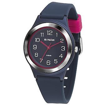 SINAR reloj joven reloj de pulsera analógico cuarzo chica silicona cinta XB-48-2 azul rosa