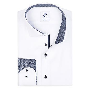 R2 Hidden Button Down Collar Long Sleeved Shirt White