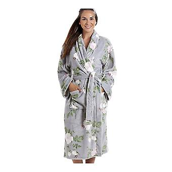 Camille Luxurious Grey Super Soft Fleece Light Pink Rose Print Bathrobe