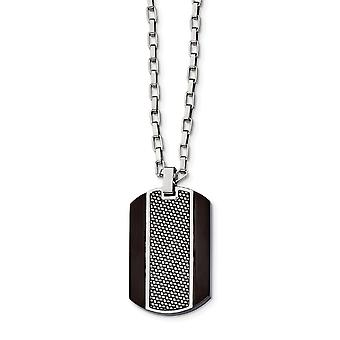 Roestvrij staal geborsteld en gepolijst Zwart Ip Grey Carbonfiber Inlay Ketting 24 Inch Sieraden Geschenken voor vrouwen