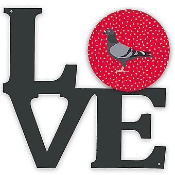 Carolines Aarteita CK5378WALV Racing Pigeon Rakkaus Metalli seinäkuvitus LOVE
