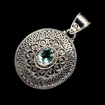 الأزرق توباز قلادة 1 1/2 & quot; (925 الجنيه الاسترليني الفضة) - اليدوية بوهو خمر مجوهرات PD719241