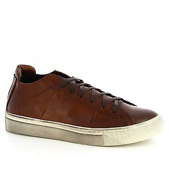 ليوناردو أحذية الرجال & ق أحذية رياضية مصنوعة يدويا في جلد العجل البني الداكن