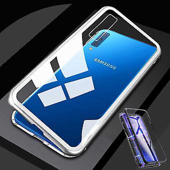 Für Samsung Galaxy A51 A515F Magnet / Metall / Glas Case Bumper Transparent / Weiß / Silber Tasche Hülle Neu