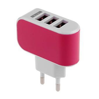 Materiál certifikovaný® Triple (3x) USB port iPhone/Android 5V-3.1 adaptér na nástěnnou nabíječku Pink