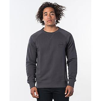 Rip Curl Miehet's Orgaaninen puuvilla fleece ~ Eco Craft Crew pesty musta