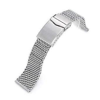 Strapcode watch bracelet 20mm, 22mm solid end massy mesh band stainless steel watch bracelet, v-clasp, brushed