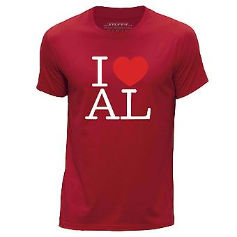 STUFF4 Hombres's Round Neck Camiseta/I Heart AL / Love Alabama USA/Red