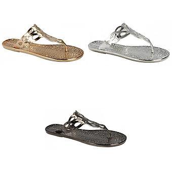 Fläck på dam/dam platta Toepost krokodil mönster sandaler