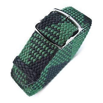 Strapcode fabric watch strap 20mm miltat perlon watch strap, black & green, polished ladder lock slider buckle