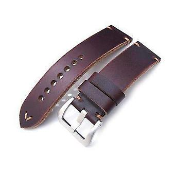 Strapcode leather watch strap 24mm miltat horween chromexcel watch strap, burgundy brown, brown stitching