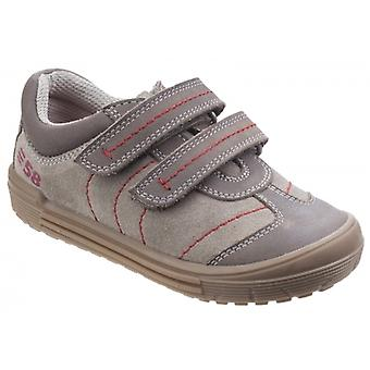 Hush Puppies Finn Boys Leather Touch Fasten Shoes Taupe