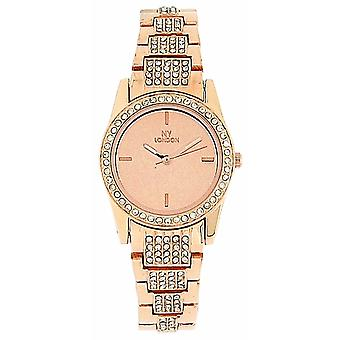Prince London Crystal Set Rose Goldtone Bracelet Strap Ladies Watch PI-3018