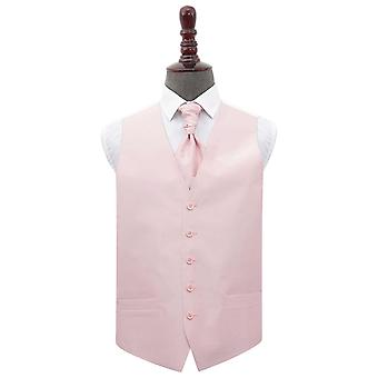 Blush Pink Plain Shantung Wedding Waistcoat et; Ensemble Cravat