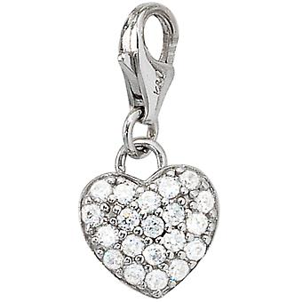 Women's Mount Charm Heart 925 Sterling Silver Rhodium with Zirconia