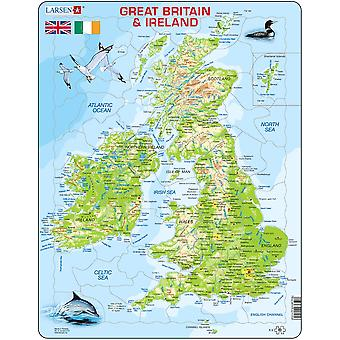 Larsen Jigsaw Puzzle - Great Britain And Ireland Physical Map, 80 Piece