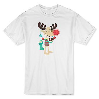 Rudolph smocks tabac Pipe coloré Noël boules T-shirt blanc hommes