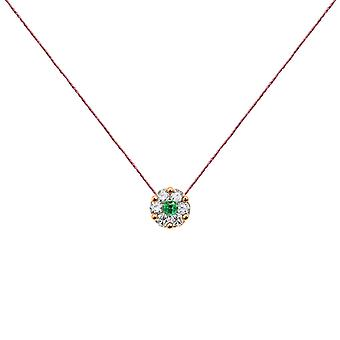 Necklace Duchess Full Diamond on Emerald and 18K Gold, On Thread
