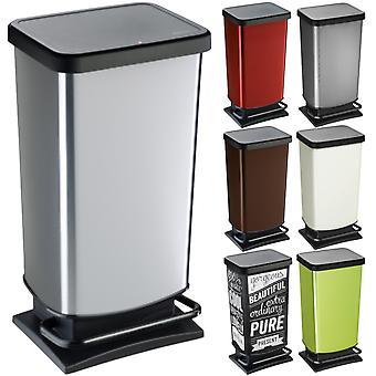 ROTHO Treteimer PASO 40 Liter eckig Cremeweiß metallic | Mülleimer für die einfache Müllentsorgung