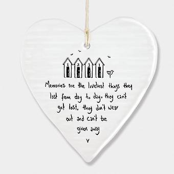 East of India Porcelain Hanging Heart 'Memories are the loveliest' Gift
