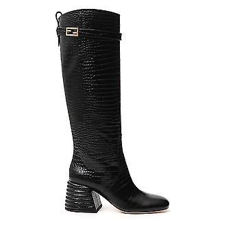 Fendi 8w7094tc3f0qa1 Women's Black Leather Boots