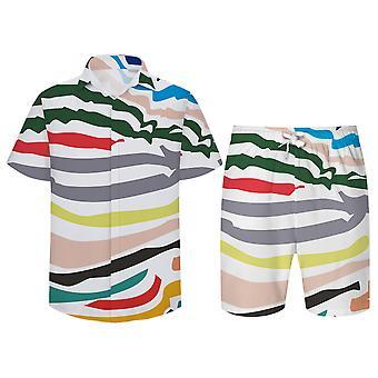Allthemen Män & s 3D Color Stripes 2-St Shirt & Shorts