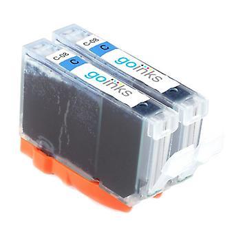 2 wkłady atramentowe cyjanu, które zastąpią atramenty Canon CLI-8C kompatybilne/nie-OEM z atramentów Go