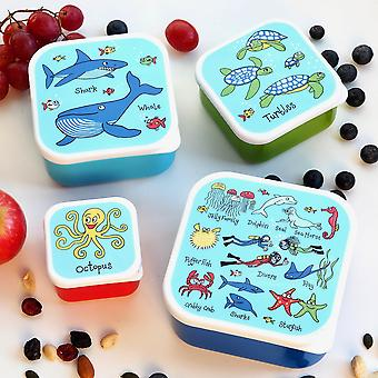 Tyrrell Katz Set of 4 Ocean Snack Boxes for Kids