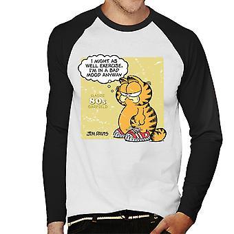 Garfield klassieke 80s oefening citeer mannen ' s honkbal lange mouwen T-shirt