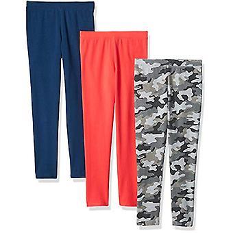 Essentials   Girls' 3-Pack Legging, Camo/Pink/Blue S