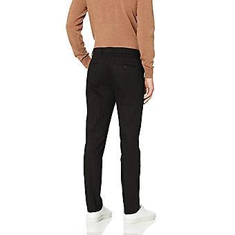 Merk - Goodthreads Men's Skinny-Fit Wrinkle Free Dress Chino Pant, Black Pinstripe, 32W x 32L