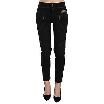 Black Mid Waist Skinny Denim Trousers Pants -- PAN7328304