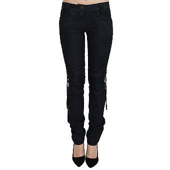 Black Low Waist Skinny Trousers Braided String Pants -- PAN7791664