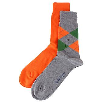 Burlington Everyday Mix 2 Pack Socks - Gris clair/Orange/Vert