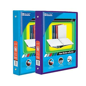 Combo56, BAZIC 1 Inch 3-Ring View Binder with 2-Pockets (Case pack of 24 consist 12-Cyan & 12-Purple)