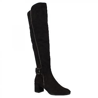 Leonardo Shoes Women's handgemaakte mid heels knie hoge laarzen in zwart suède leer met rits en gesp
