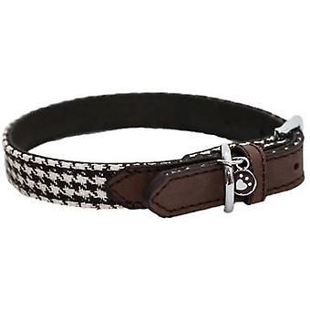 Wag N Walk Designer Collar Houndstooth - Brown - 12-16 inch