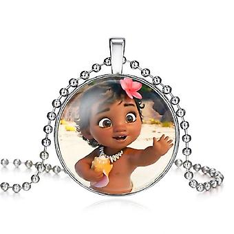 The Long Chain Jewelry Necklace Crystal Cabochon Princess- Elsa Anna Snow Queen Pendant For Girls Gifts Toys