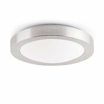 Faro Logos-1 - 1 Light Small Round Bathroom Flush Ceiling Light Aluminium, Blanc IP44, E27