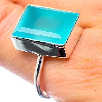 Aqua Chalcedony Ring Size 9.75 (925 Sterling Silver)  - Handmade Boho Vintage Jewelry RING26895