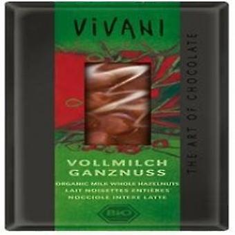 Vivani - Organic Milk Chocolate With Whole Hazelnuts 100gx10