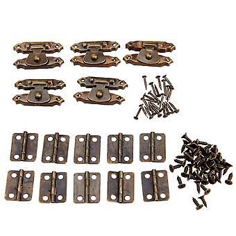 Antike Stil Eisen dekorative Scharniere mit Vintage Lock Latch Hasps Schrauben und