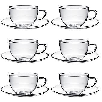 Klarglas Cappuccino / Tee / Kaffeetasse & Untertasse - 260ml (9,1 Unzen) - Packung mit 6